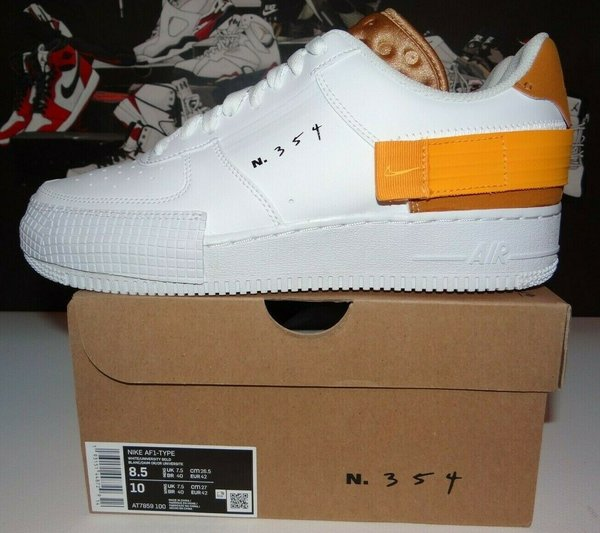 EU_42, UK 7.5 Nike Air Force 1 Type White Gold N.354 | AT7859-100 Deadstock